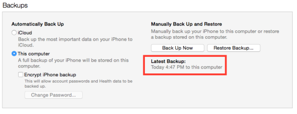 iTunes Backup complete